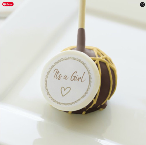 Yellow Minimalist Neutral Personalized Baby Shower Cake Pops