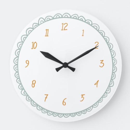 Mint and Orange Minimalist Doodle Large Clock