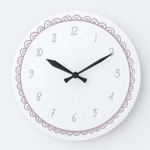 Mint and Pink Minimalist Hand Drawn Doodle Large Clock