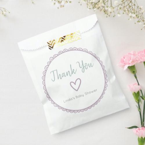 Adorable Pink Minimalist Baby Shower Thank You Favor Bag