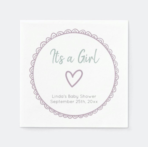 Pink Minimalist Doodle It's a Girl Baby Shower Napkins