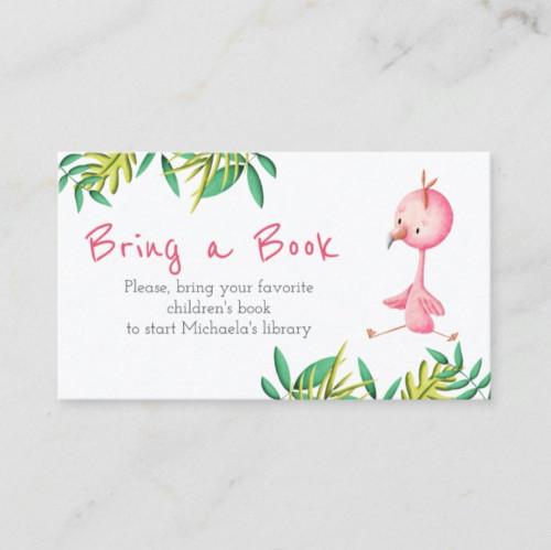 Tropical Summer Flamingo Bring a Book Enclosure Card