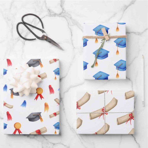 Cute Patterned Caps and Diplomas Graduation Wrapping Paper Sheets