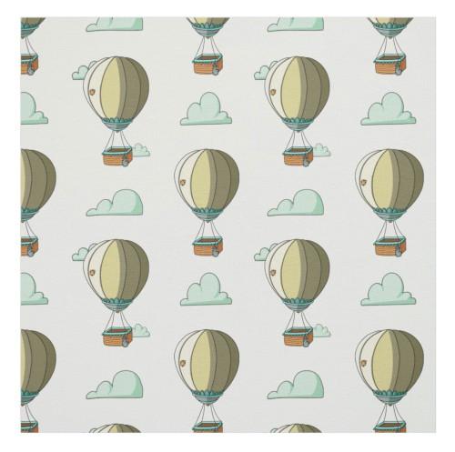 Whimsical Hot Air Balloon Cartoon Nursery Fabric