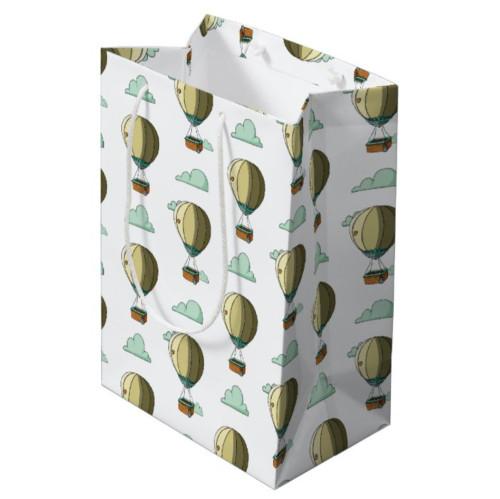 Cartoon Hot Air Balloon Neutral Baby Shower Medium Gift Bag