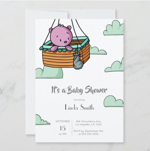 Whimsical Baby Bear in Ballon Basket Baby Shower Invitation
