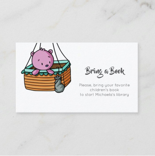 Minimalist Bring a Book with a Bear in a Basket Enclosure Card