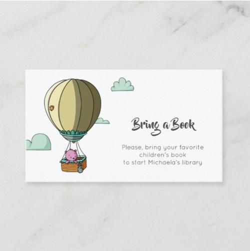 Cute Pink Bear in Hot Air Balloon Bring a Book Enclosure Card
