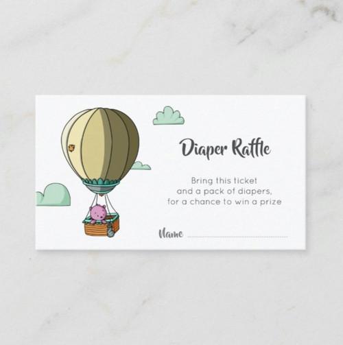 Cute Pink Bear in Hot Air Balloon Diaper Raffle Enclosure Card