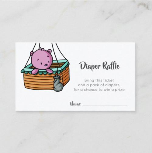 Pink Bear in Hot Air Balloon Basket Diaper Raffle Enclosure Card