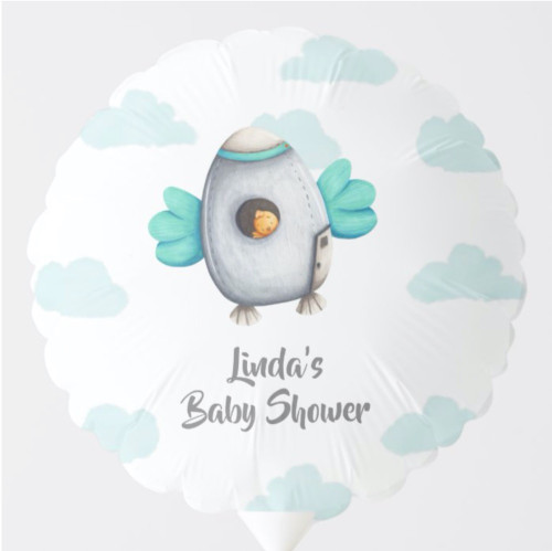 Blue Clouds and Bird Astronaut Baby Shower Balloon