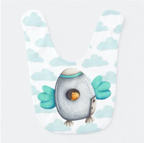 Cute Minimalist Blue Chicken Astronaut baby bib