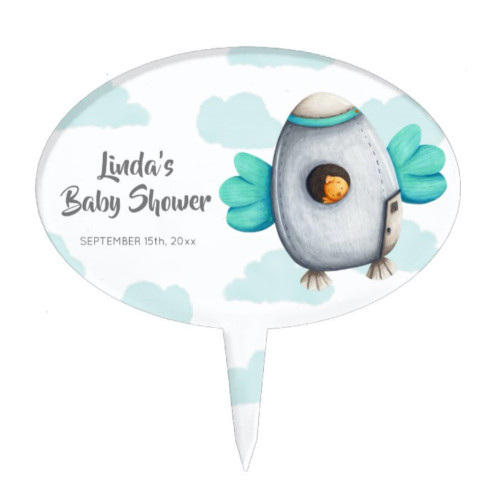 Spacecraft with Bird Personalized Baby Shower Cake Topper