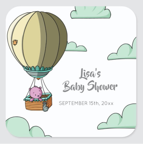 Cute Pink Bear Floating Away Baby Shower Favor Square Sticker