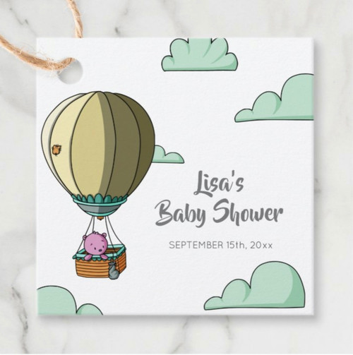 Whimsical Hot Air Balloon with Bear Baby Shower Favor Tags