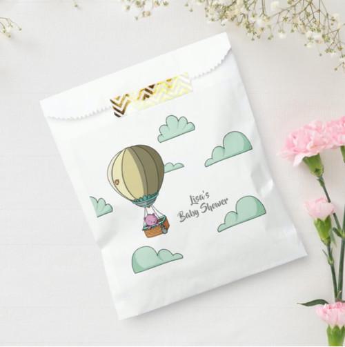 Pink Bear in Hot Air Balloon Cartoon Baby Shower Paper Plate Favor Bag