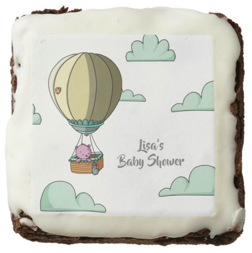 Hot Air Balloon with Pink Bear Girl Baby Shower Brownie