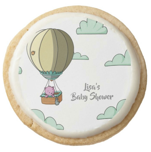 Hot Air Balloon with Bear Baby Shower Personalized Round Shortbread Cookie