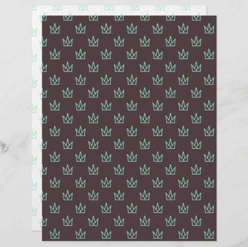 Turquoise Crown Patterned Scrapbook Paper