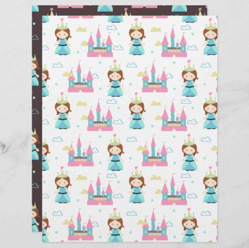 Princess with Castle and Clouds Scrapbook Paper