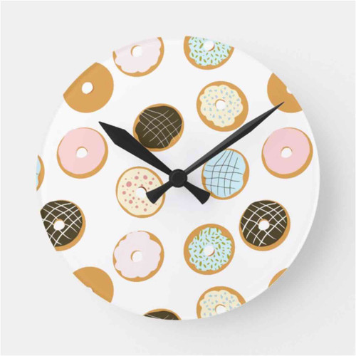 Cute Donut with Colorful Frosting Baker Round Clock