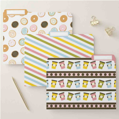 Colorful Pastel Donuts and Cups Bakery File Folder