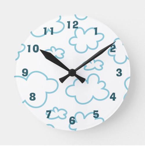 Cute Blue and White Clouds Nursery Round Clock