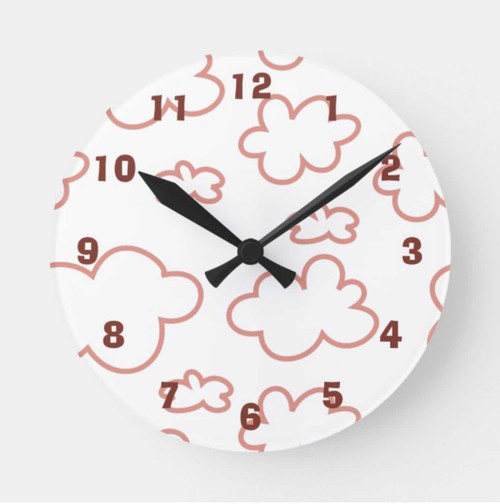 Cute Pink and White Clouds Acrylic Wall Clock