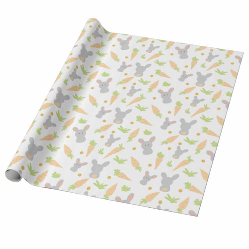 Cute Rabbits and Carrots Easter Gift Wrapping Paper