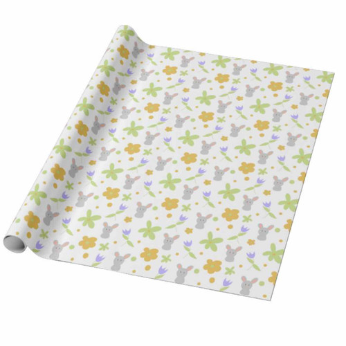Green and Orange Floral with Rabbits Easter Gift Wrapping Paper
