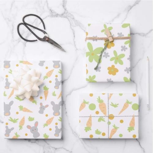 Floral Colorful Rabbits and Carrots Easter Gift Wrapping Paper Sheets