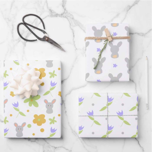 Cute Colorful Rabbits and Flowers Easter Gift Wrapping Paper Sheets