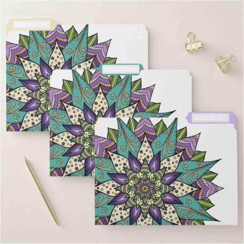 Bright Purple and Green Floral Mandala File Folder