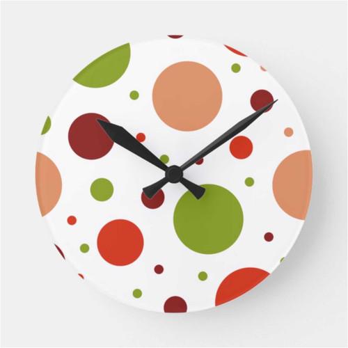 Retro Dots Pattern: Orange, Red and Green Round Clock