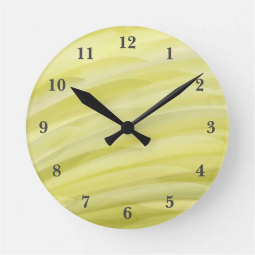 Shade of Yellow Waves Painted Effect Round Clock