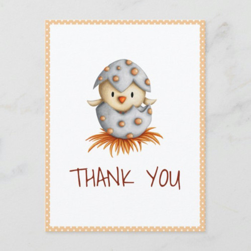 Whimsical Baby Bird Hatching Thank You Postcard