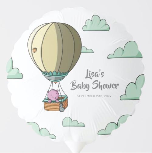Cute Pink Bear in Hot Air Balloon Baby Shower