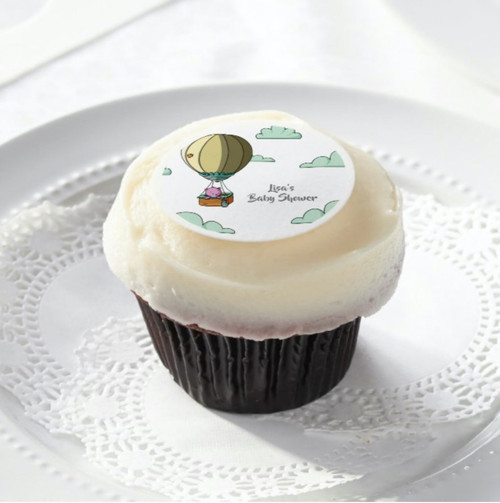 Whimsical Hot Air Balloon With Bear Baby Shower Edible Frosting Rounds