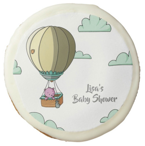 Bright Hot Air Balloon in the Sky Girl Baby Shower Sugar Cookie