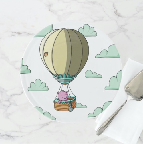 Whimsical Hot Air Balloon Illustration with Bear Cake Stand