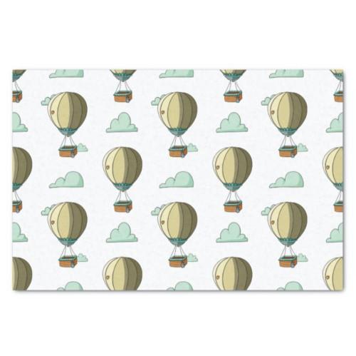 Cute Yellow Hot Air Balloon Neutral Baby Shower Tissue Paper