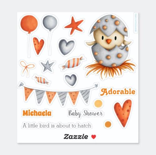Grey and orange baby shower little bird hatching sticker