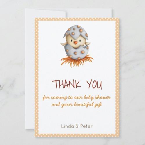 Little Bird Hatching Baby Shower Thank You Invitation