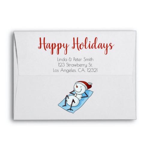 Cute Snowman Sunbathing Summer Christmas envelope