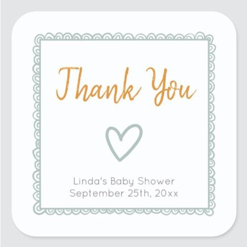 Mint Minimalist Baby Shower Thank You Square Sticker