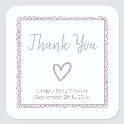 Pink with Heart Minimalist Baby Shower Thank You Square Sticker