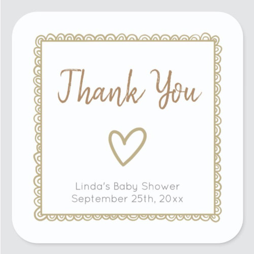Yellow with Heart Minimalist Baby Shower Thank You Square Sticker