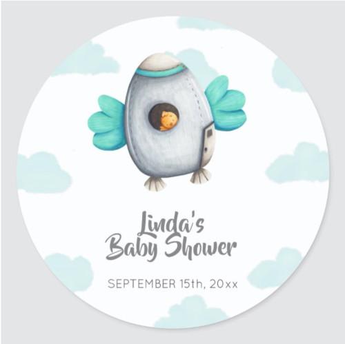 Minimalist Astronaut Bird Baby Shower Favor Classic Round Sticker