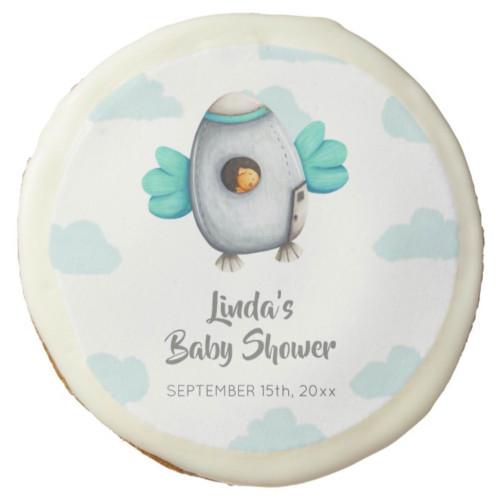 Blue Minimalist Spaceship and Chicken Baby Shower Sugar Cookie