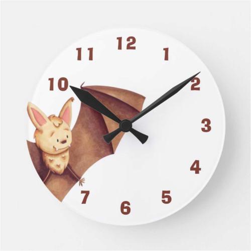 Cute Happy Bat Cartoon Nursery Brown Round Clock